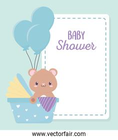baby shower cute bear in the newborn car seat balloons