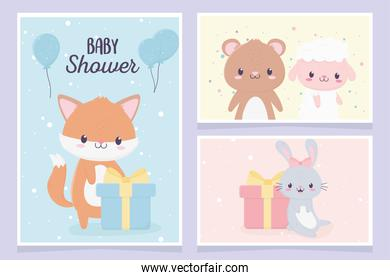 baby shower cute little fox bunny bear sheep gift boxes greeting cards