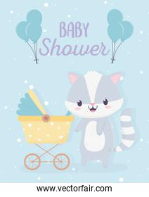 baby shower cute little raccoon with pram and balloons card