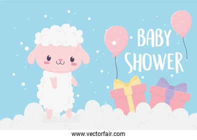 baby shower cute little sheep in clouds with gifts and balloons