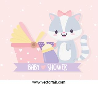 baby shower cute little raccoon girl with milk bottle and pram ribbon