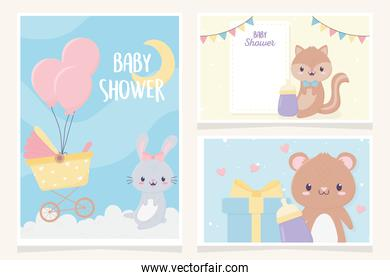 baby shower cute little animals greeting cards collection