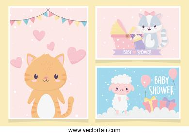 baby shower cute little animals love hearts pram gifts clouds card set