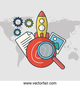 marketing technology with rocket launcher