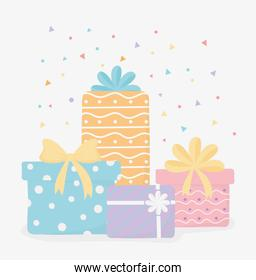 wrapped gift boxes with bow confetti party decoration