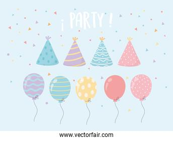 hat and balloons confetti celebration party decoration
