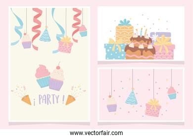 birthday festive celebration cake cupcakes gifts party decoration cards