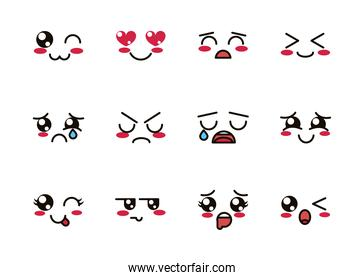 kawaii cute face expressions eyes and mouth icons set