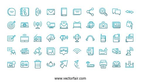 communications talk information broadcast icons set gradient line