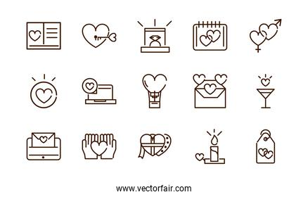 love heart romantic passion feeling related icons collection thick line