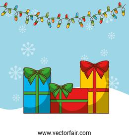 happy merry christmas card with gifts presents