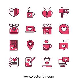 happy valentines day love romantic feeling icons collection