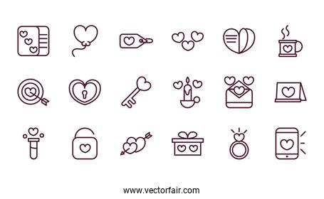 happy valentines day love romantic feeling icons collection thick line
