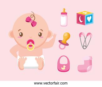 bundle of cute girl and baby accessories