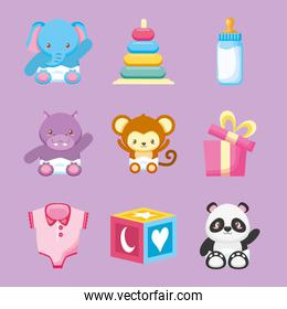 bundle of cute animals and baby toys