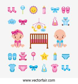 bundle of cute babies and baby accessories