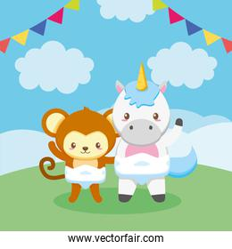 baby shower card with donkey and unicorn