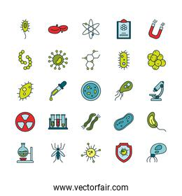 Isolated virus line and fill style icon set vector design