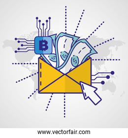 financial technology with envelope and arrow cursor