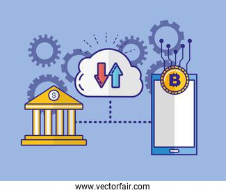 financial technology with smartphone and bank