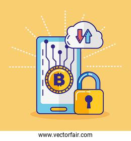 financial technology with smartphone icon