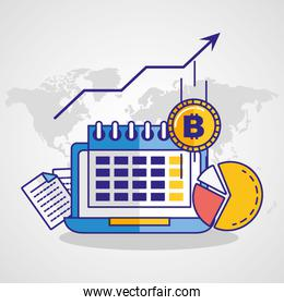 financial technology with laptop icon