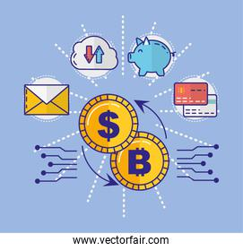 financial technology with coin dollar and set icons