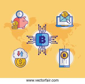 financial technology with bitcoin icon