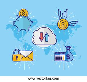 financial technology with set icons