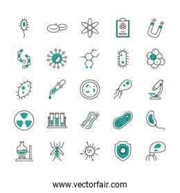 Isolated virus half line half color style icon set vector design