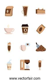 Isolated coffee flat style icon set vector design