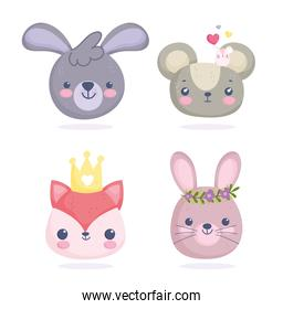 cute animals, little faces of mouses fox rabbits cartoon