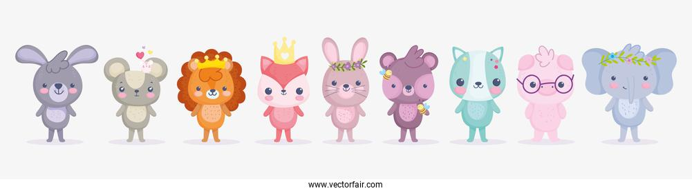 cute animals, little group rabbit lion pig elephant cat fox bear and mouse cartoon