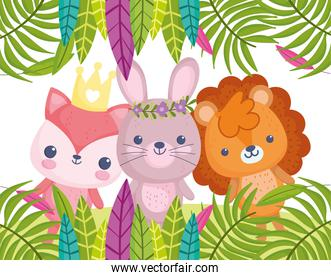 cute animals, little cartoon lion rabbit and fox foliage