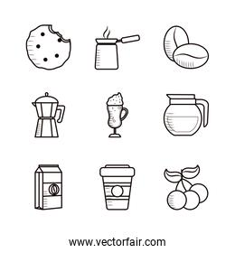 Isolated coffee line style icon set vector design