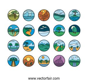 Landscapes line and fill style icon set vector design