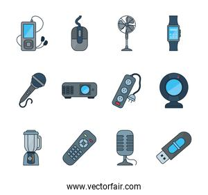 Technology line and fill style icon set vector design