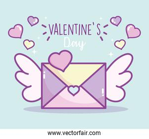 happy valentines day, envelope with wings hearts love card