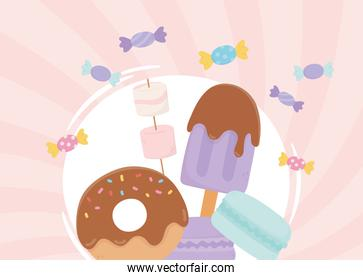 sweet products donut ice cream marshmallow biscuits and candies
