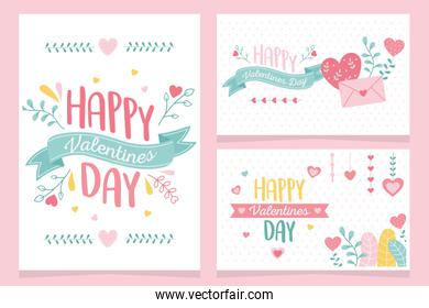 happy valentines day, collection greeting cards hearts love floral flowers decoration