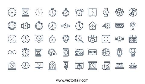 time clock timer hour date linear design set icons