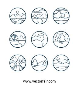 Landscapes line style icon set vector design