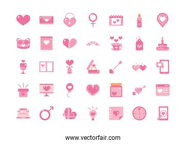 happy valentines day celebration decoration romantic icons set pink design