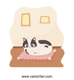 black and white pet cat resting on cushion cartoon