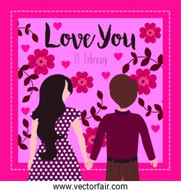 valentines day card with lovers couple