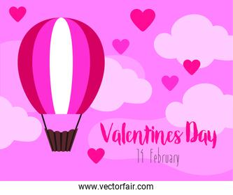 valentines day card with balloon air hot travel