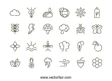 forest foliage ecology nature line design icons set