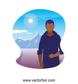 faceless man with landscape in background