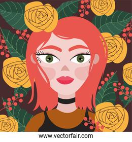 beautiful redhead woman with floral decoration