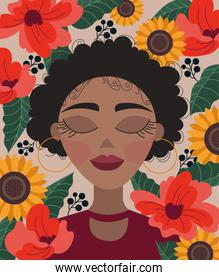 beautiful afro woman with floral decoration